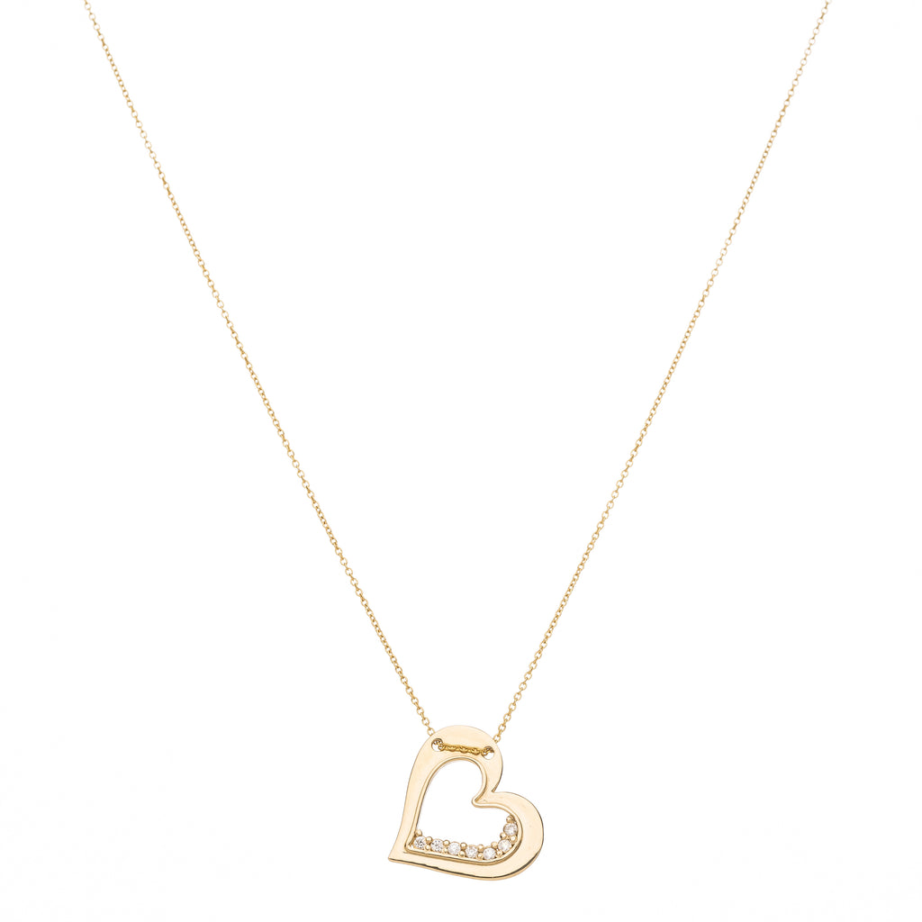 diamond sideway heart necklace
