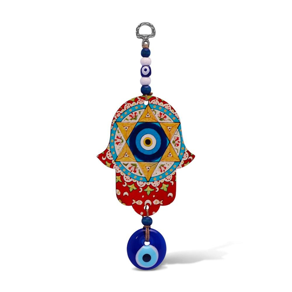 Judaica Star of David and Hamsa Wall Hanging for Your Home