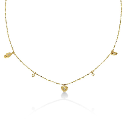 Small Triple Diamond Evil Eye, Heart, and Hamsa Necklace in 14k Gold