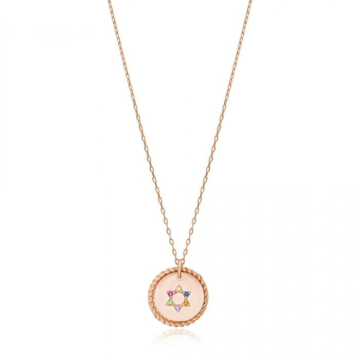rainbow star of david necklace
