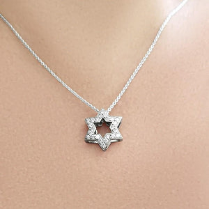 JEWISH STAR WITH DIAMONDS WHITE GOLD