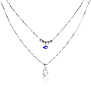 amulet pendant hamsa and evil eye necklace