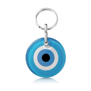light blue keyring with evil eye