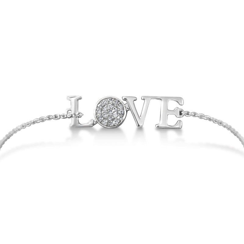 white gold bracelet with word love