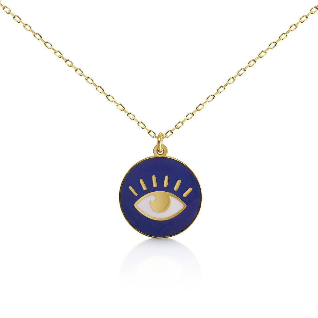 blue lucky evil eye charm necklace