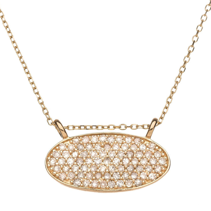 diamond oval necklace in gold