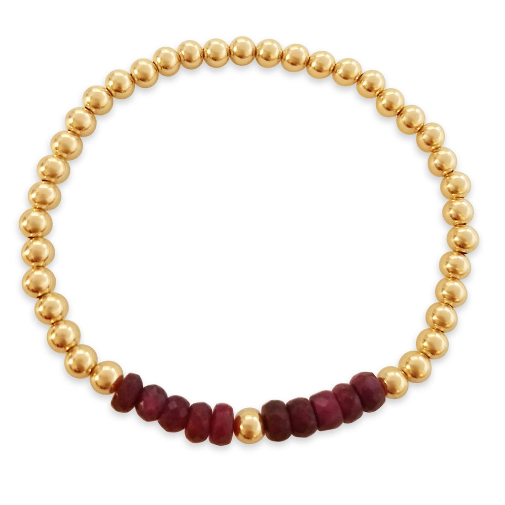 ruby and gold bead bracelet