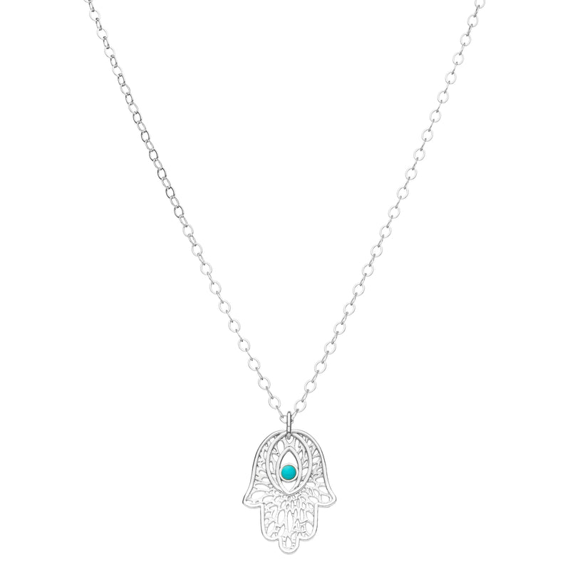 large silver yoga hamsa necklace