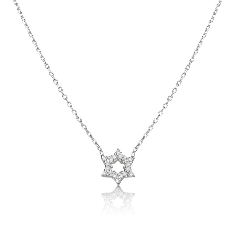 silver star of david jewish necklace