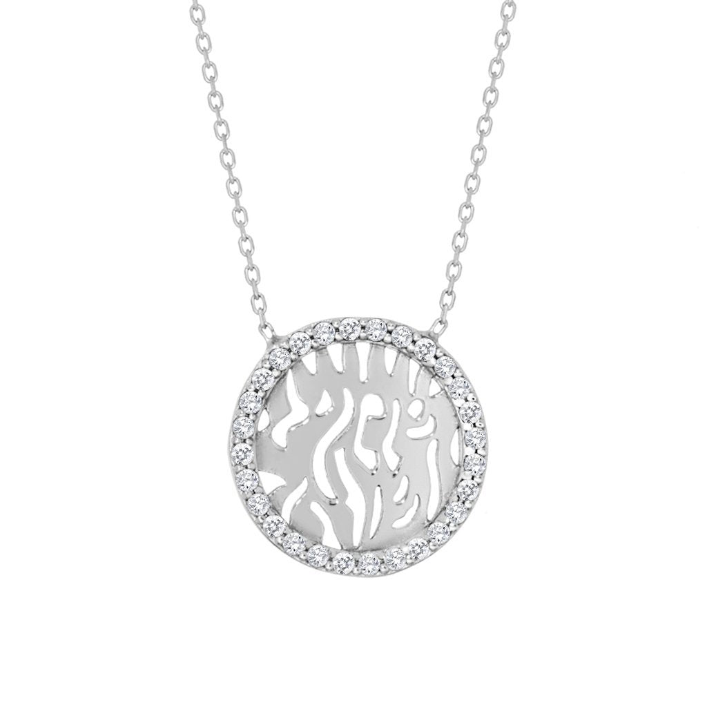 Silver Shema Necklace With Sparkling Gemstones