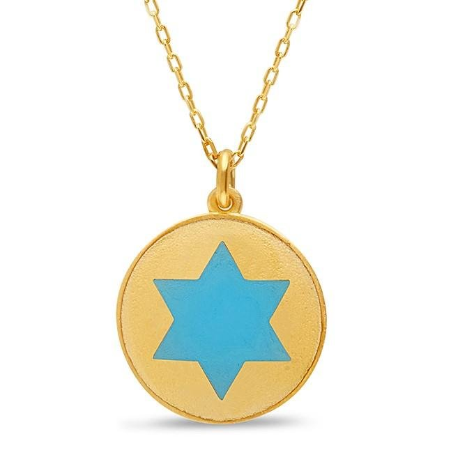 Rounded Star of David Necklace With Colors