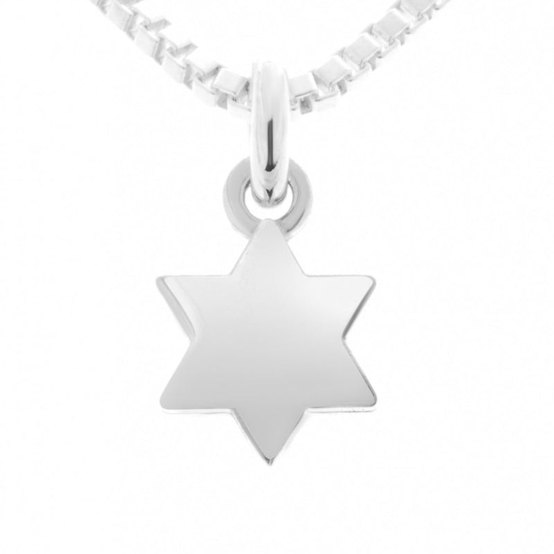 Silver Star of David Necklace Tiny and Adorable - Alef Bet Jewelry by Paula
