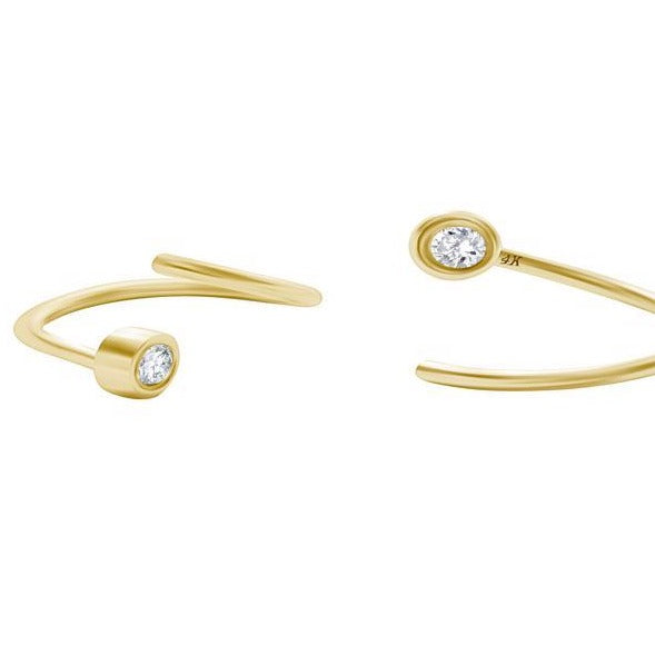 Twist Diamond Earrings in Gold with Diamonds - Alef Bet Jewelry by Paula