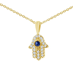 hamsa necklace in yellow gold