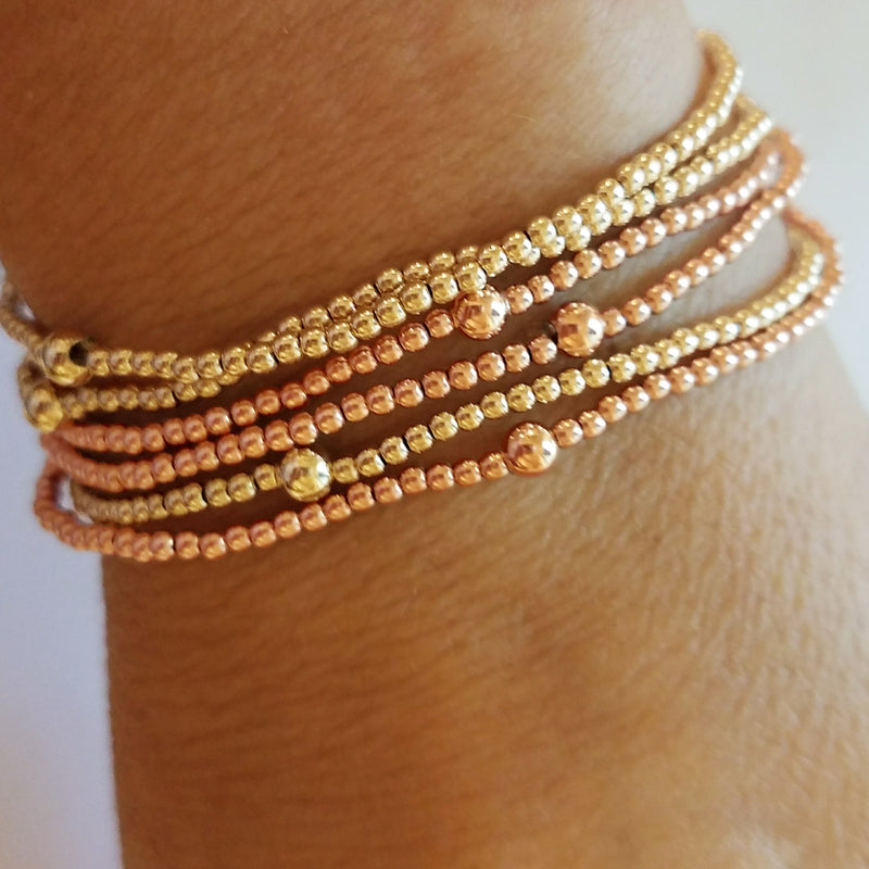 2mm Gold Bead Bracelet - Alef Bet Jewelry by Paula