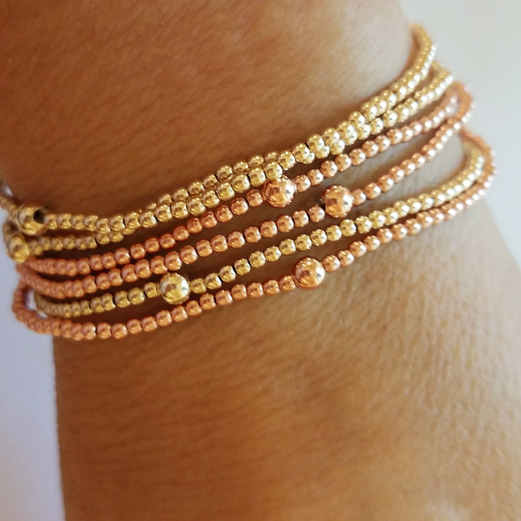 2mm Yellow Gold Bead Bracelet - Alef Bet Jewelry by Paula