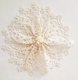 Floral Off White Lace Woman's Kippah