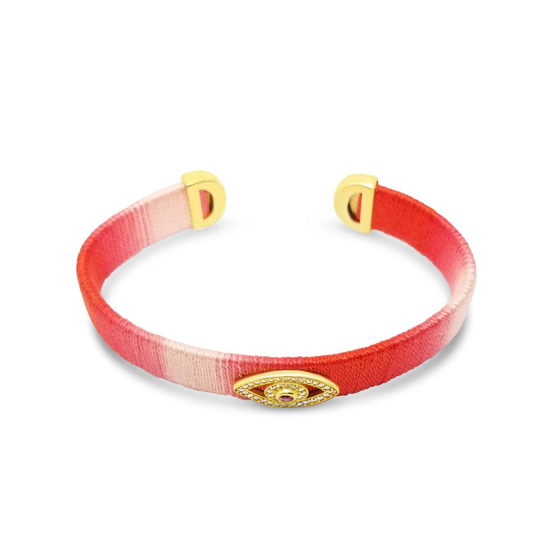 bangle in red with evil eye