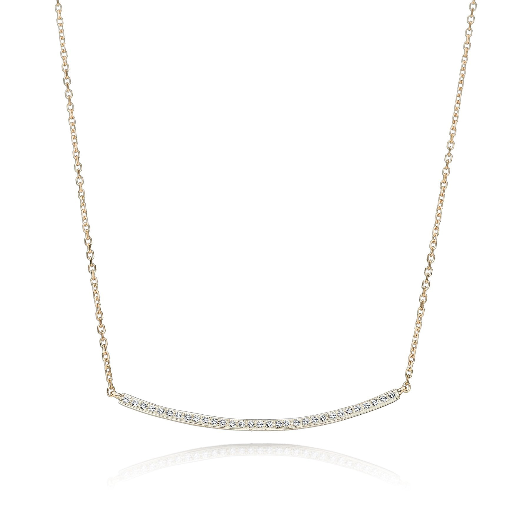 diamond line necklace | Alef Bet Jewelry