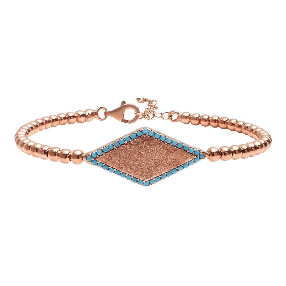 rose gold bead bracelet with turquoise gems