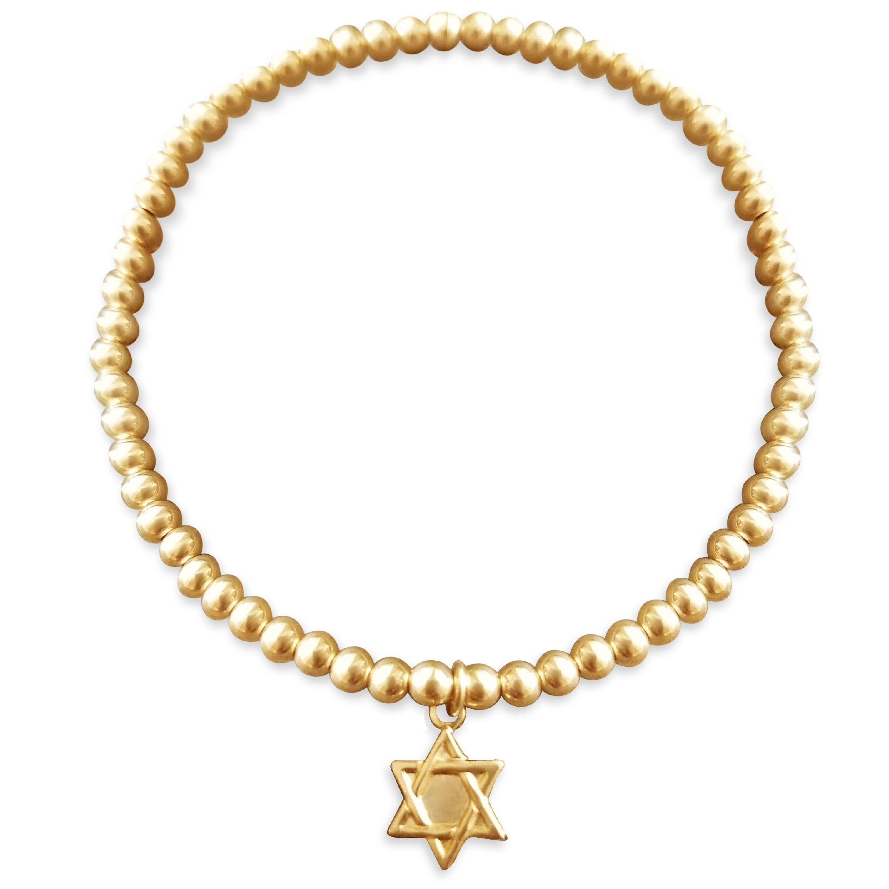 Bead Bracelet with Star of David in Yellow Gold
