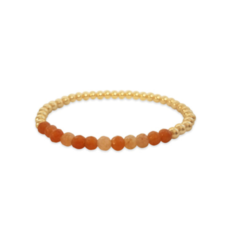 4mm Beads With Your Choice of Gemstone Bracelet - Alef Bet Jewelry by Paula