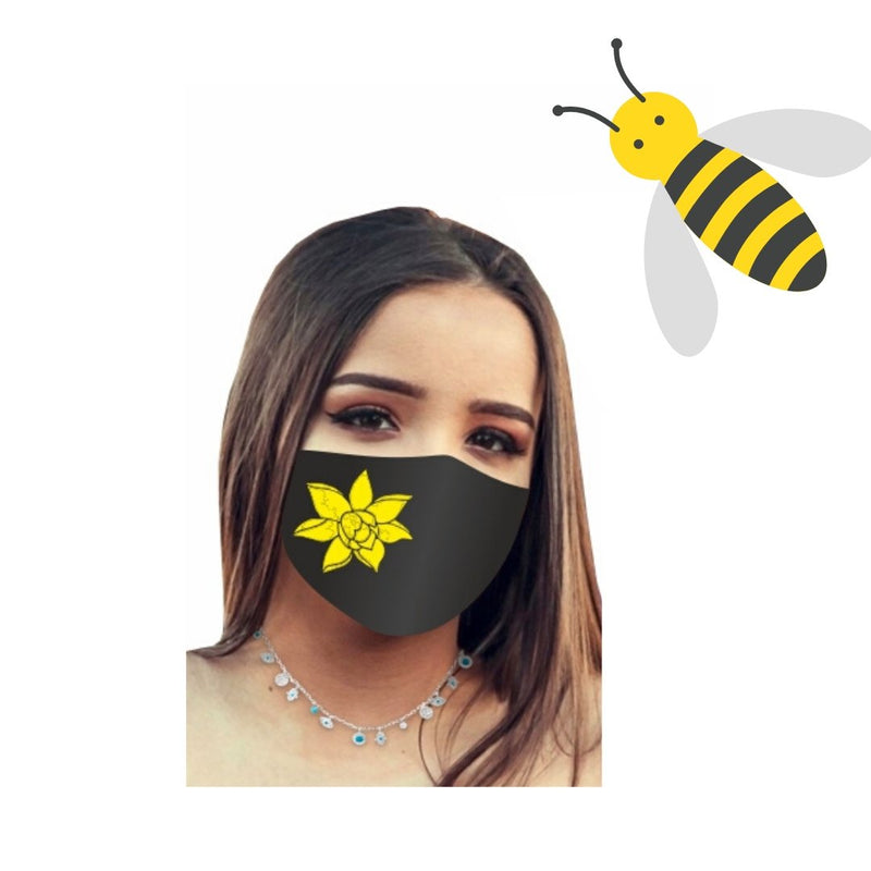 Floral Bee Mask -- Handmade in USA