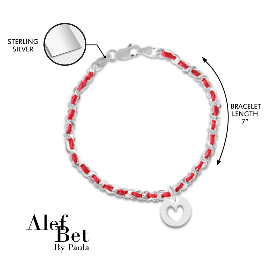 Heart Red String of Fate Bracelet in Sterling Silver