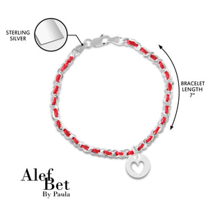 Heart Silver Red String of Fate Bracelet