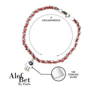 Chamsa and Evil Eye Red String Sterling Silver Bracelet