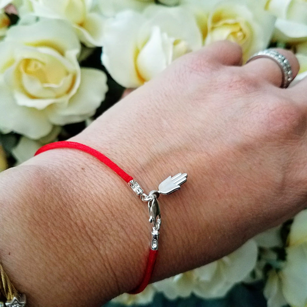 Red Cord Bendel Bracelet with Hamsa - Alef Bet Jewelry by Paula