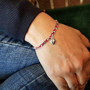 Red Bendel with Puff Heart Bracelet - Alef Bet Jewelry by Paula