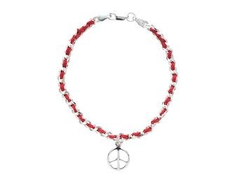 Peace Sign Lucky Red String Bendel Bracelet