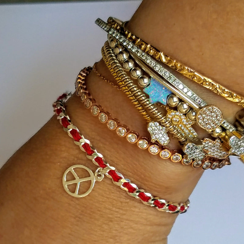 Peace Sign Lucky Red String Bendel Bracelet - Alef Bet Jewelry by Paula