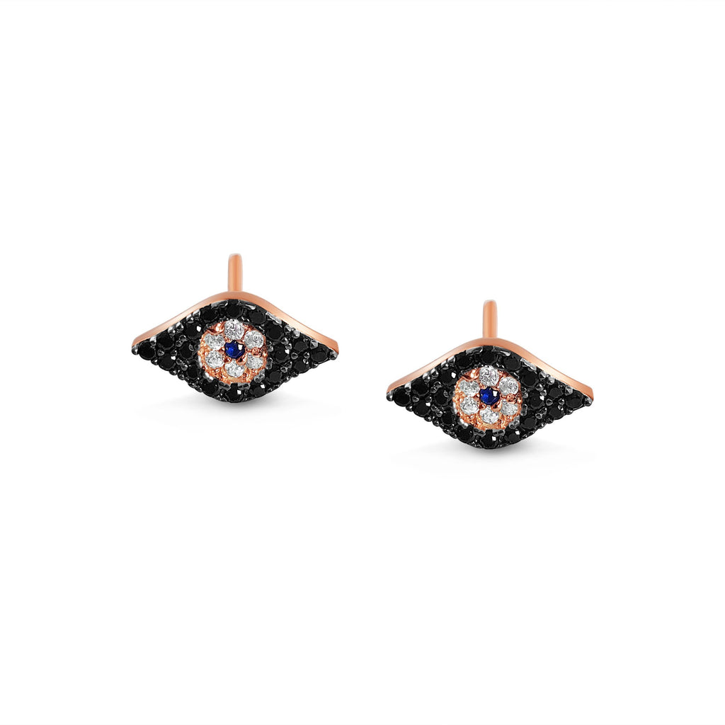 evil eye earrings with black gemstones