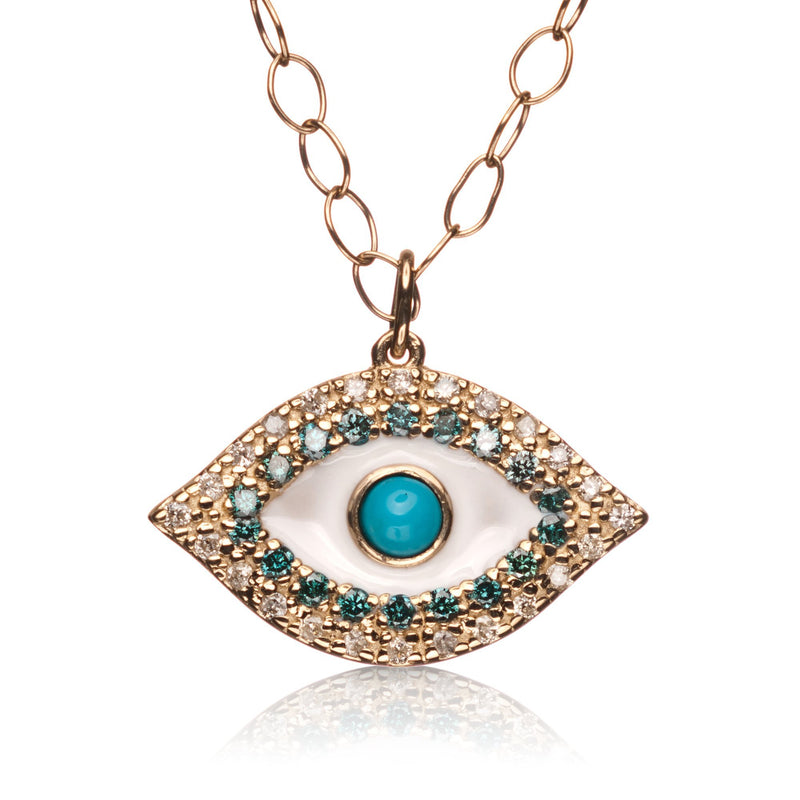 Blue Diamond Evil Eye Necklace in 14k Gold