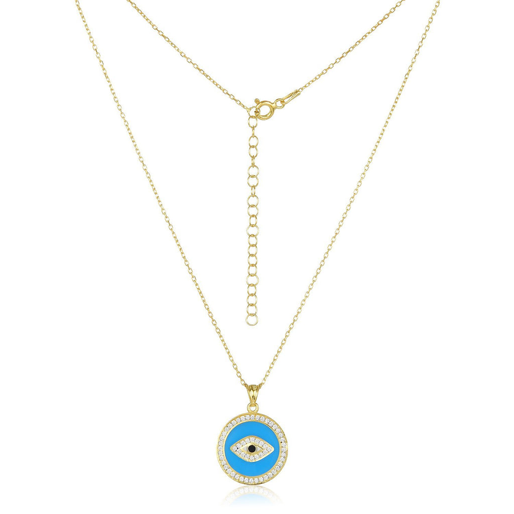 light blue medallion evil eye necklace