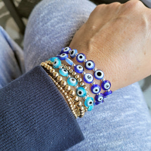 evil eye bracelet in shades of blue