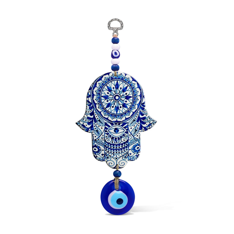hamsa wall decor in blue with evil eye