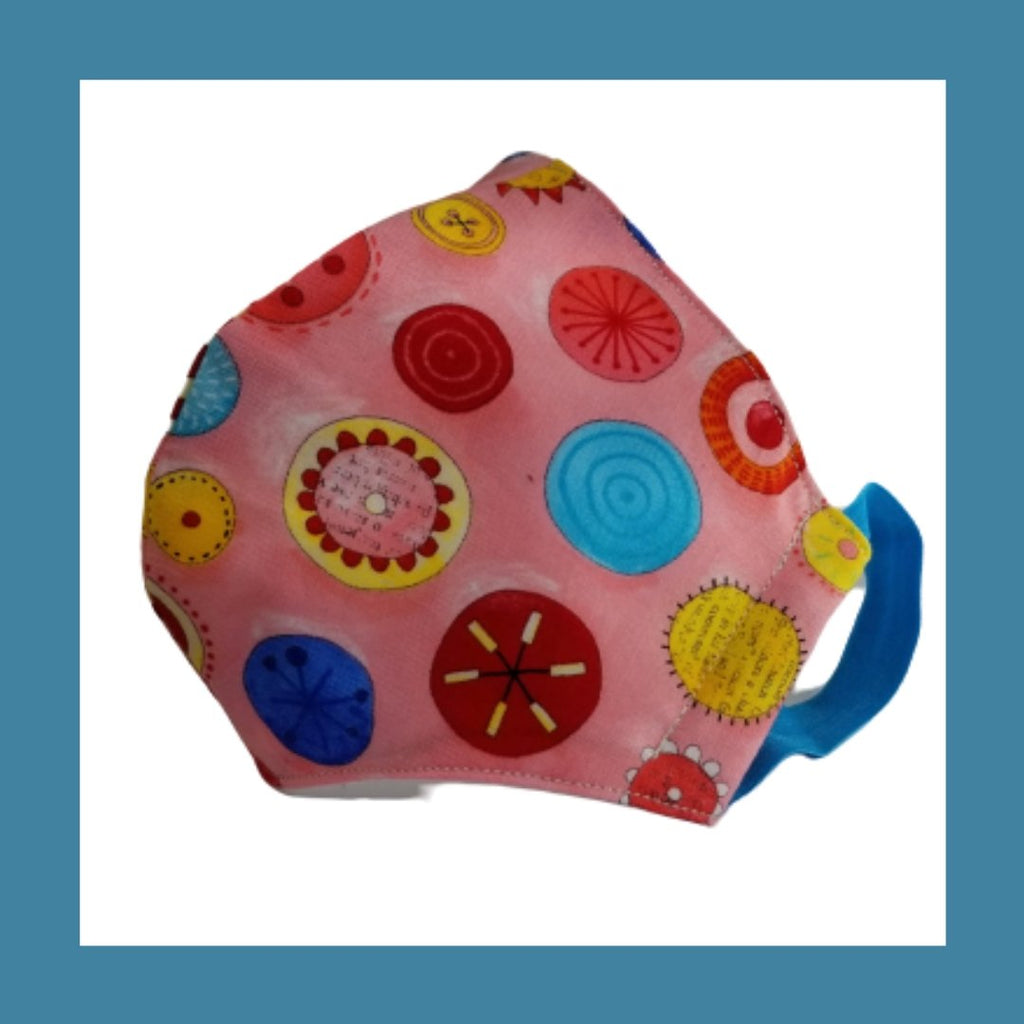 pink button sewing mask