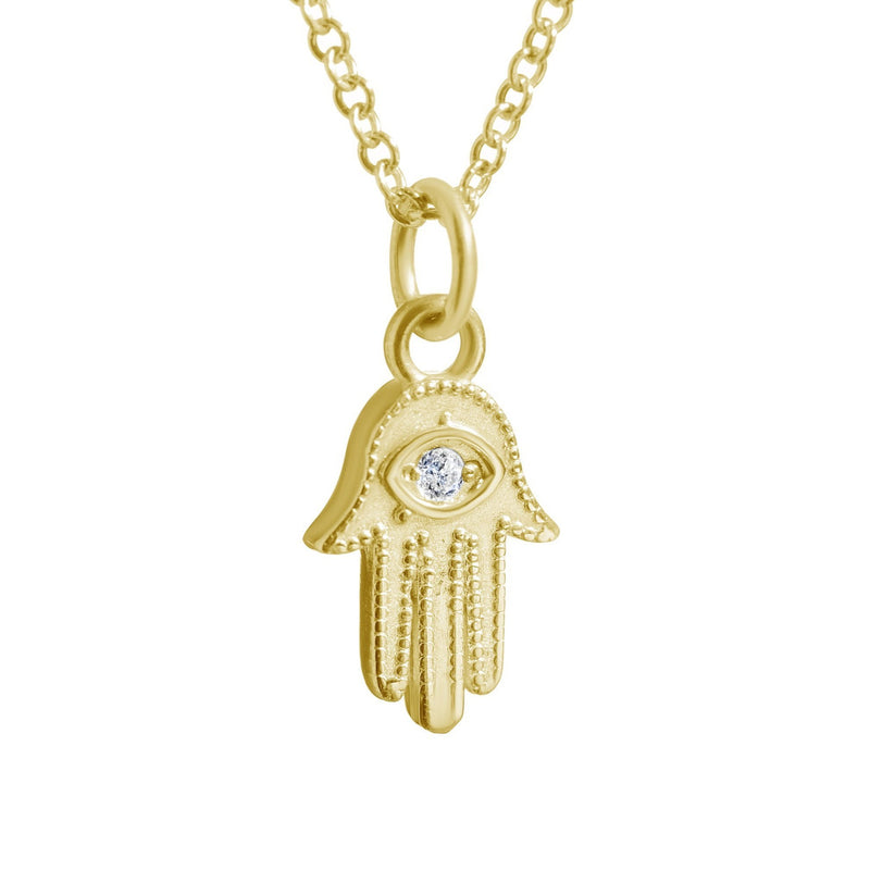 YELLOW GOLD HAMSA HAND OF FATIMA NECKLACE