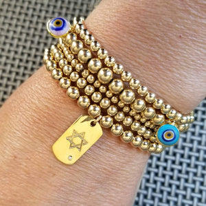 jewish star and evil eye protection bracelet