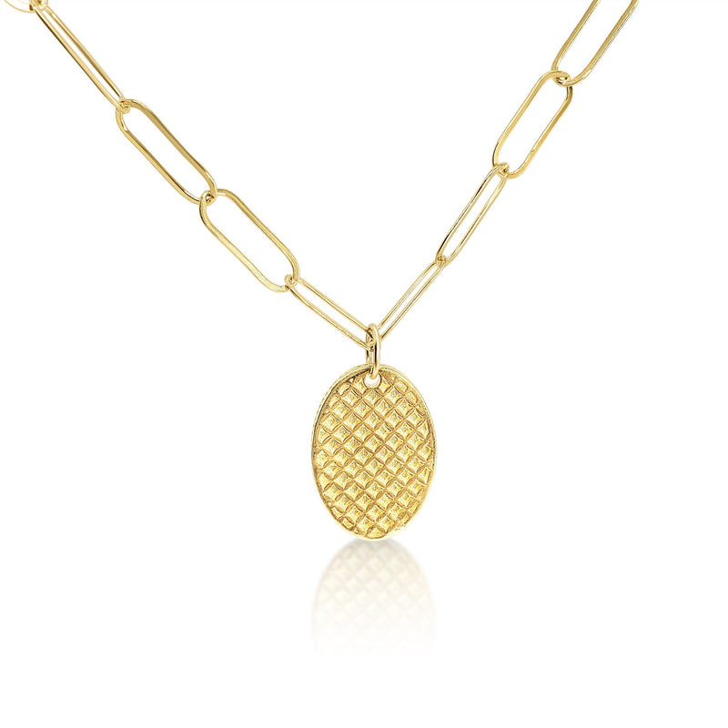 Oval Disk Necklace -- Your Choice of Chain