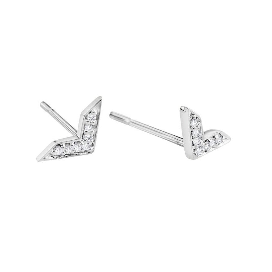 Chevron Shaped Earrings with Diamonds