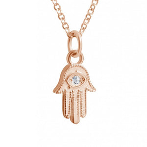 Hamsa Necklace in Gold - Alef Bet Jewelry by Paula