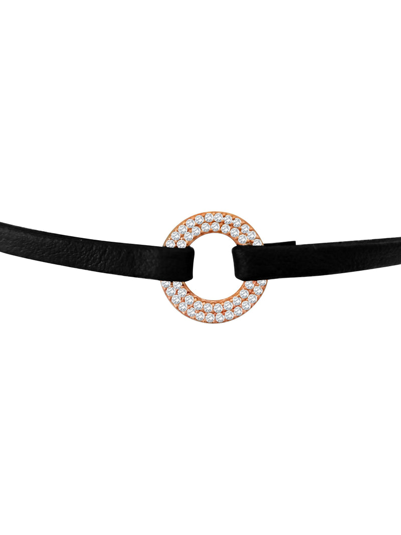 Circles in Shimmering Black Choker Bracelet - Alef Bet Jewelry by Paula