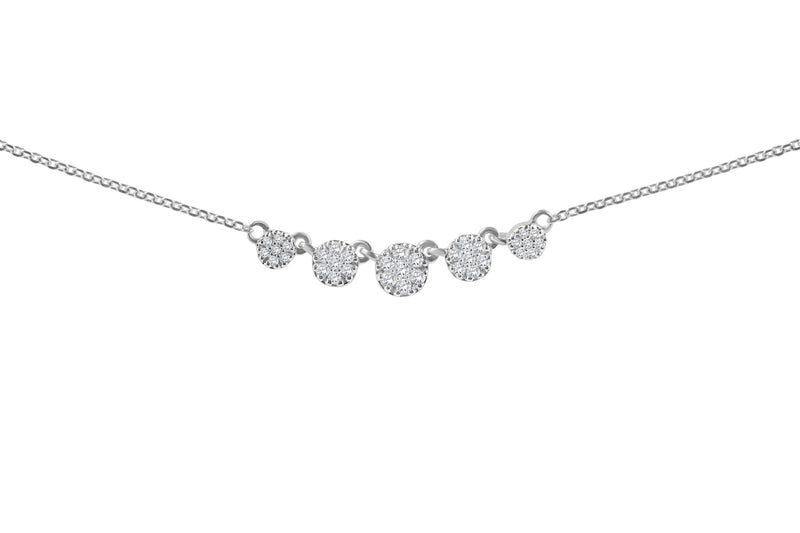 Diamond Cluster of Circle Necklace - Alef Bet Jewelry by Paula