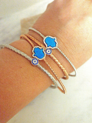 Bangle Bracelets with Lucky Eye Charms - Alef Bet Jewelry by Paula
