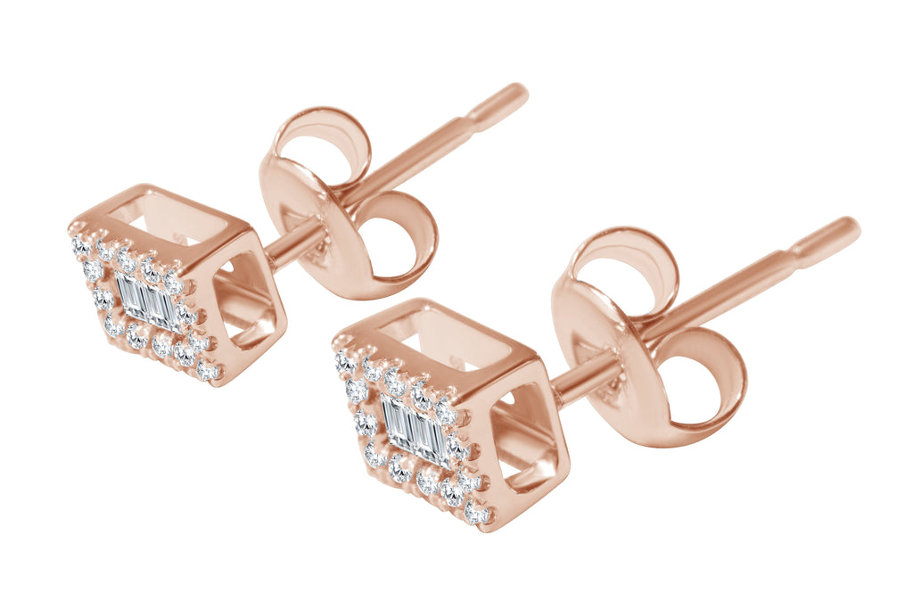 Baguette Diamond Stud Earrings - Alef Bet Jewelry by Paula