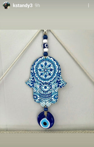 Lovely Hues of Blue Hamsa Hand Wall Art for Home or Office